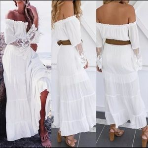White off the shoulder maxi with lace detail